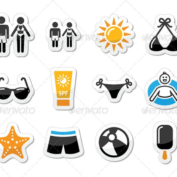 Summer Beach Holidays Icons Set