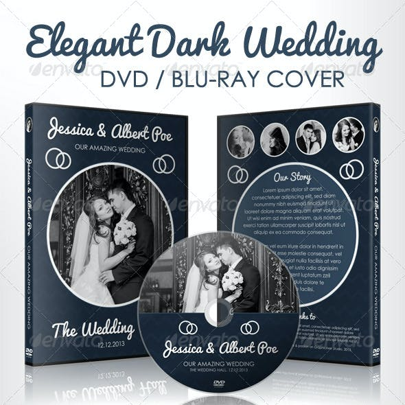 Elegant Dark Wedding DVD / Blu-ray Cover Template