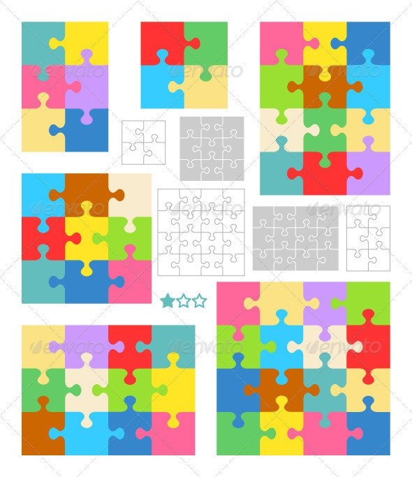 Jigsaw Puzzle Blank Templates, Colorful Patterns - Patterns Decorative