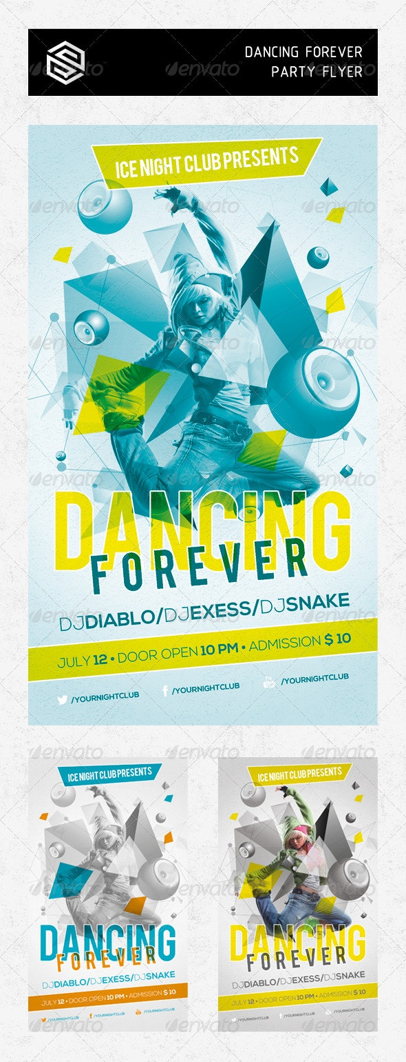 Dancing Forever Party Flyer - Events Flyers