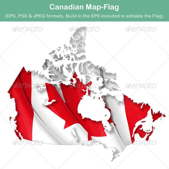 Canadian Map Flag