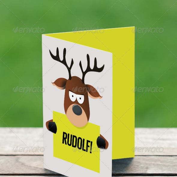 Cartoon Reindeer Holding Paper