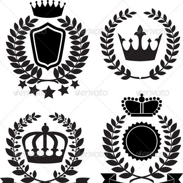 Black Silhouettes of Award Label with Crown