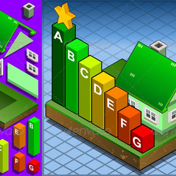 Isometric House with Energy Class Bars