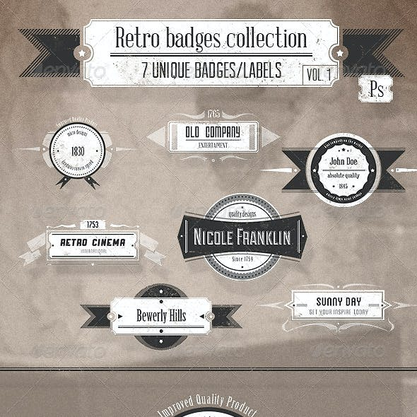 Retro and Vintage Badges Collection Vol. 1