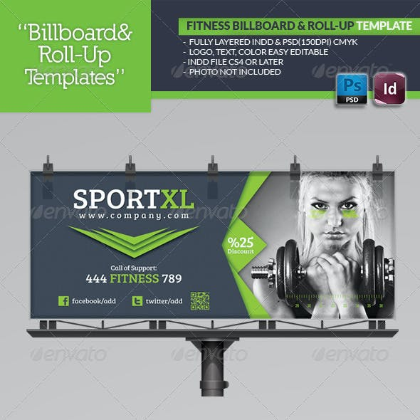 Fitness Billboard & Roll-Up Template