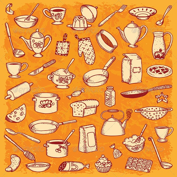 Kitchen and Cooking Doodle Set Vector - Food Objects