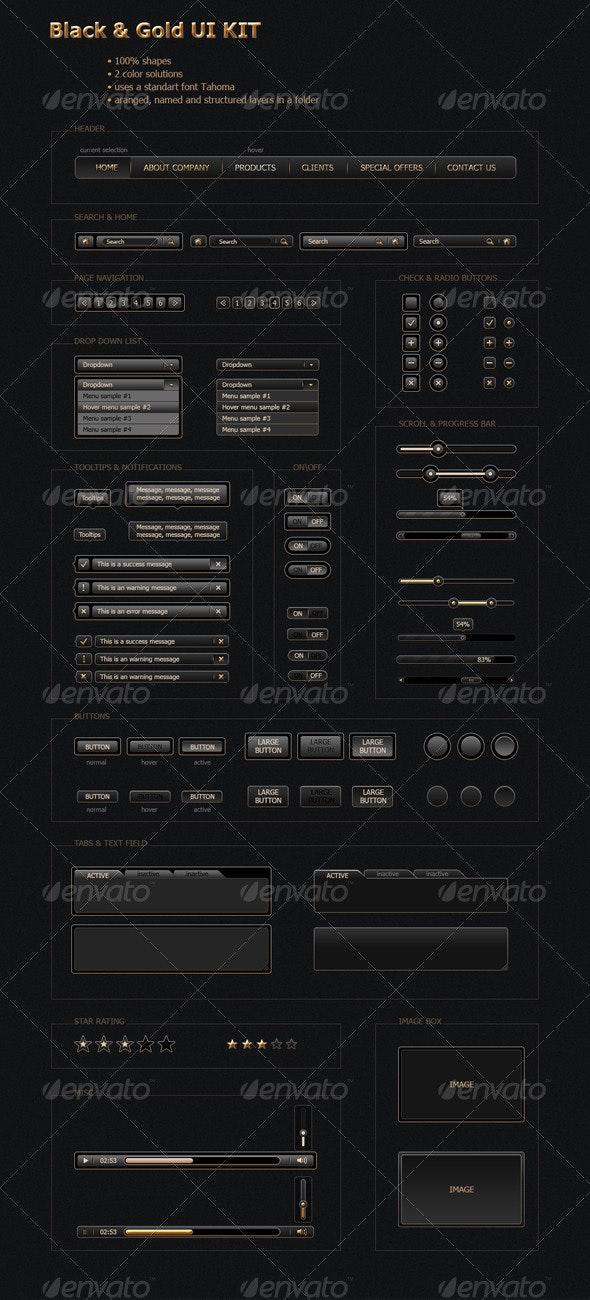 Black&Gold UI Kit - User Interfaces Web Elements