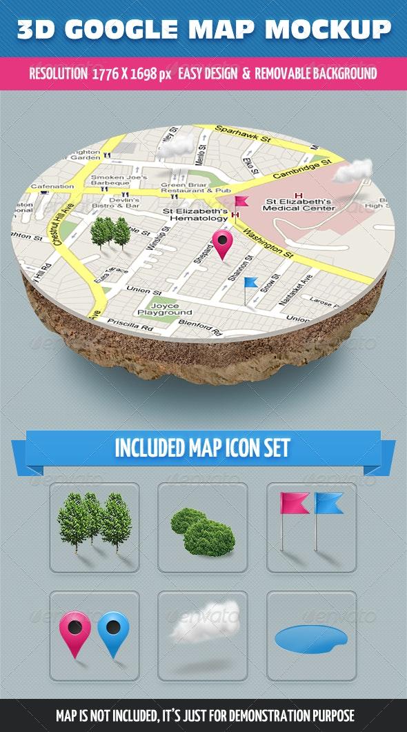 3D Map Mockup - Miscellaneous Product Mock-Ups