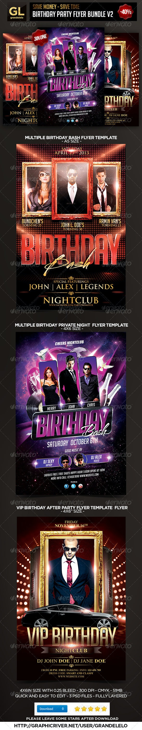 Birthday Flyer Bundle 2.0 - Clubs & Parties Events
