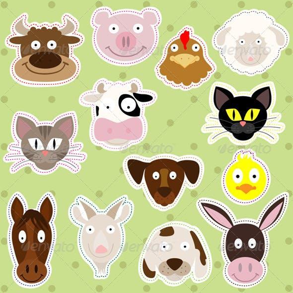 Farm Animals Illustration Set