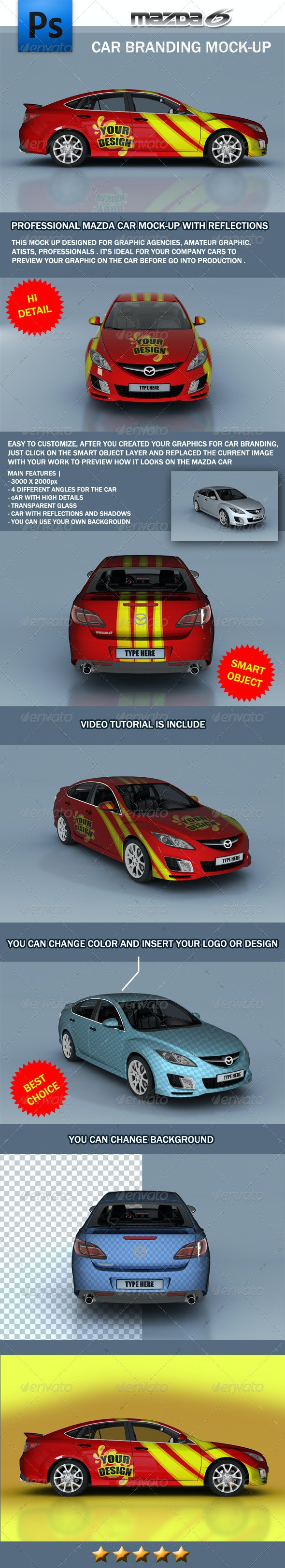 Mazda Car Branding Mock-up - Vehicle Wraps Print