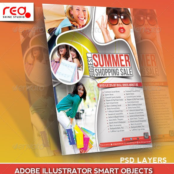 Summer Sale Flyer Poster Magazine Template