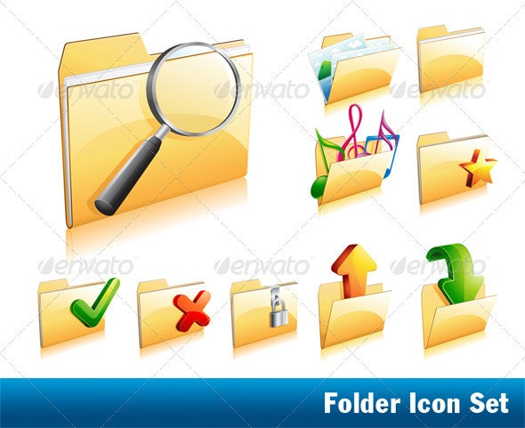Set Of Folder Icons - Technology Icons