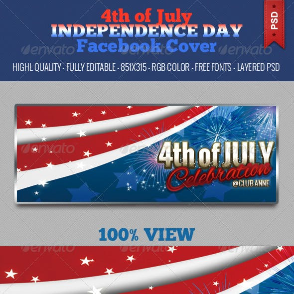 4th of July Independence Day Facebook Cover - V3