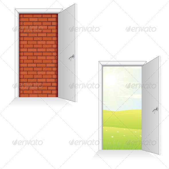 Exit Door Ideas. Isolated Vector Illustration