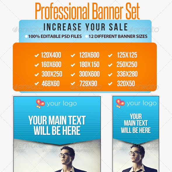 Professional Banner Set with Animation - 12 sizes