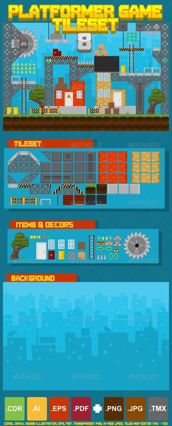 Platformer Game Tile Set 8 - Tilesets Game Assets