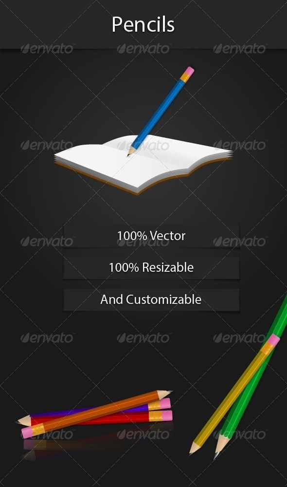Vector Pencils - Man-made Objects Objects