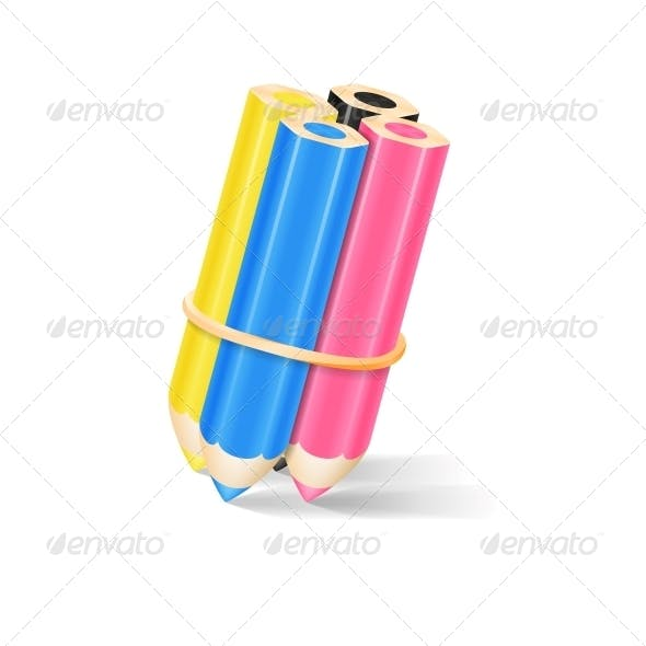CMYK Pencils with Rubber Band