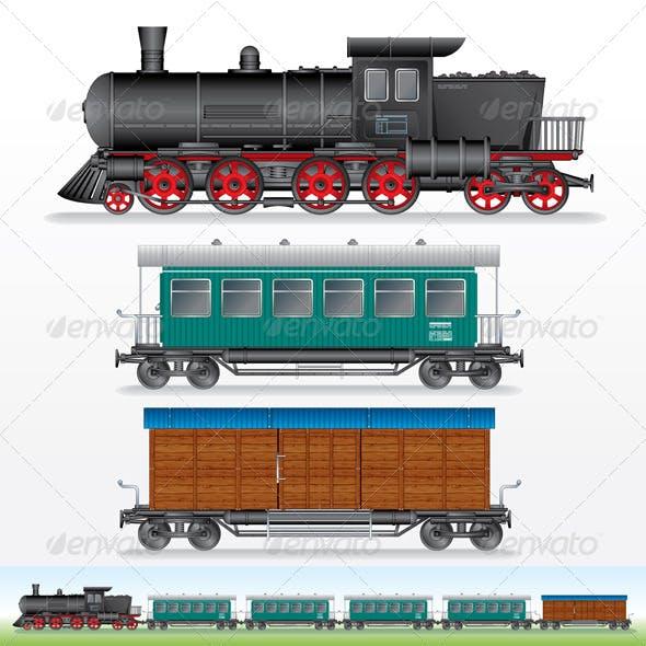 Retro Steam Lokomotive, Cargo and Passenger Waggon
