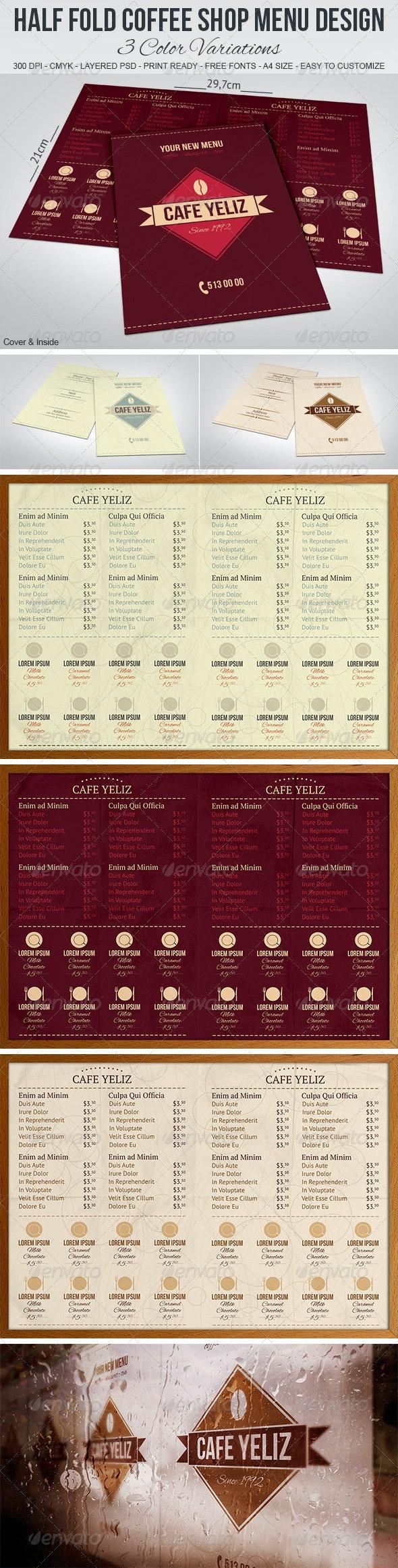 Half Fold Coffee Shop Menu Design - Food Menus Print Templates