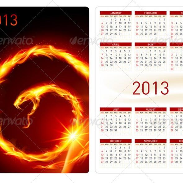 Calendar twenty thirteen. Fire Snake