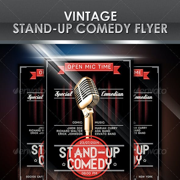 Vintage Stand-Up Comedy Flyer