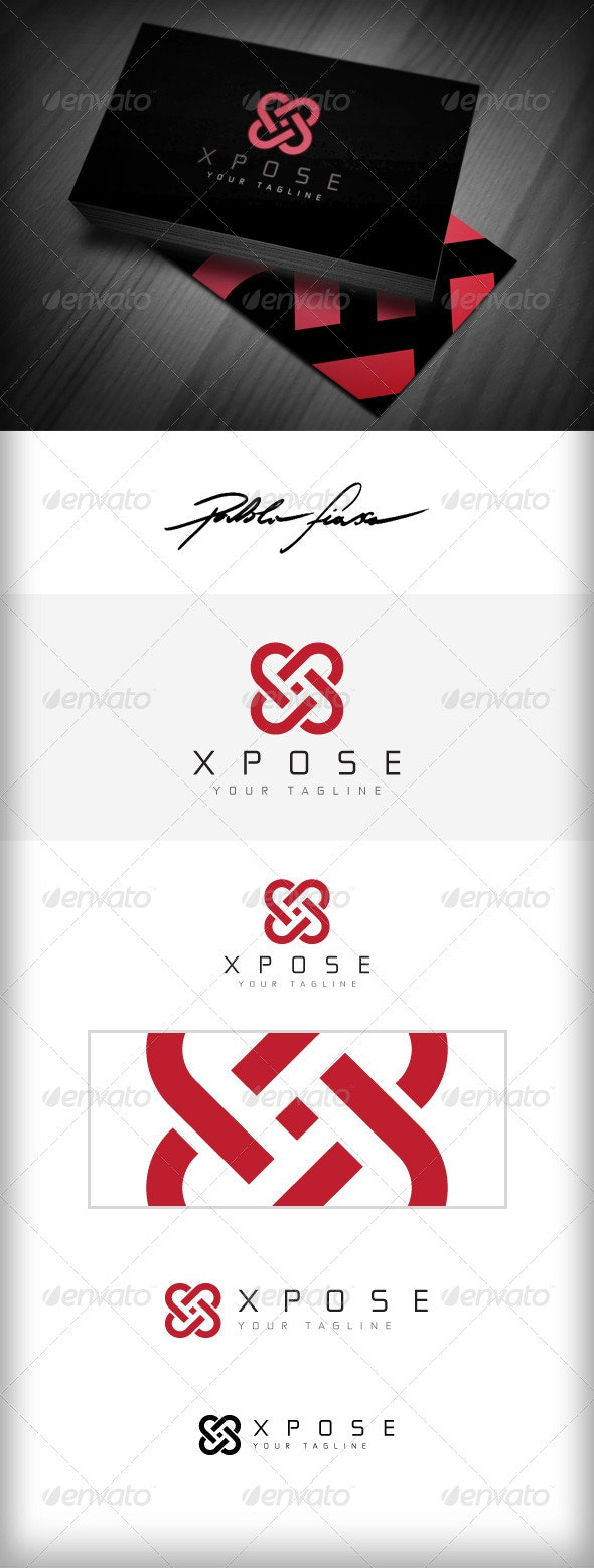 Letter X Logo - Heart Shaped Interlocking X Logo - Symbols Logo Templates