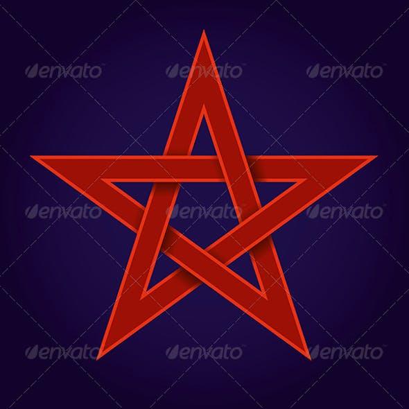 Red Pentagram on Blue Background
