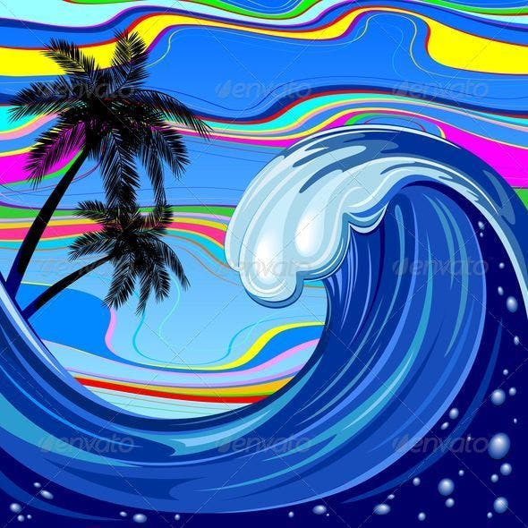 Ocean Wave and Palm Trees
