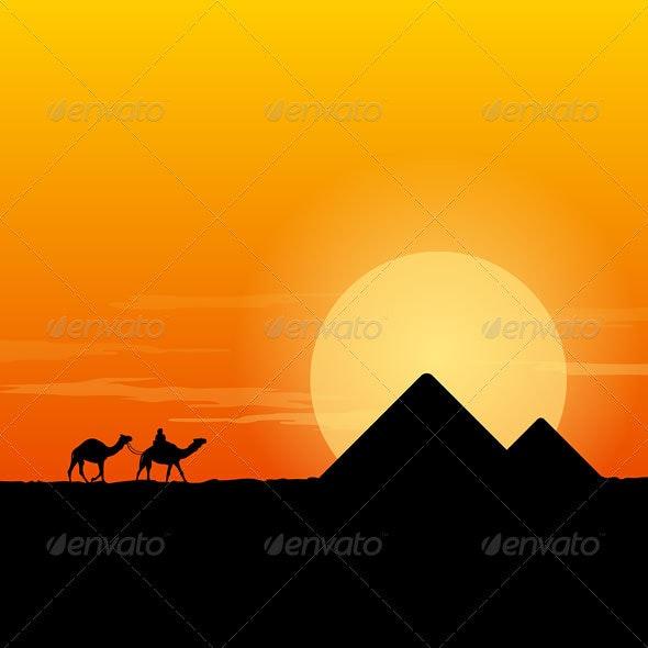 Camel Caravan and Pyramid - Seasons/Holidays Conceptual