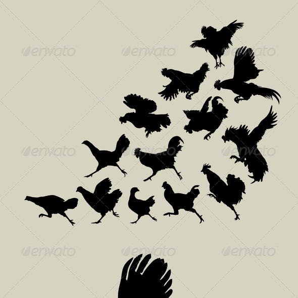 Chicken or Rooster Running Silhouettes