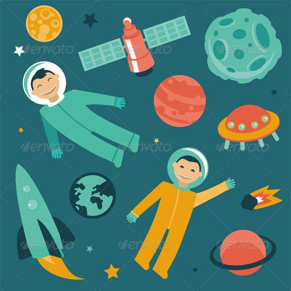 Cartoon Astronauts in Space and Patterns