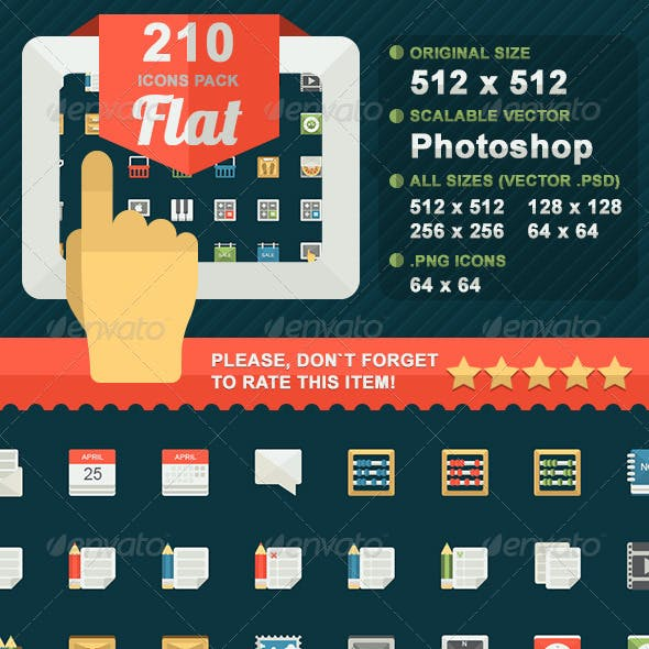 210 Flat icons pack