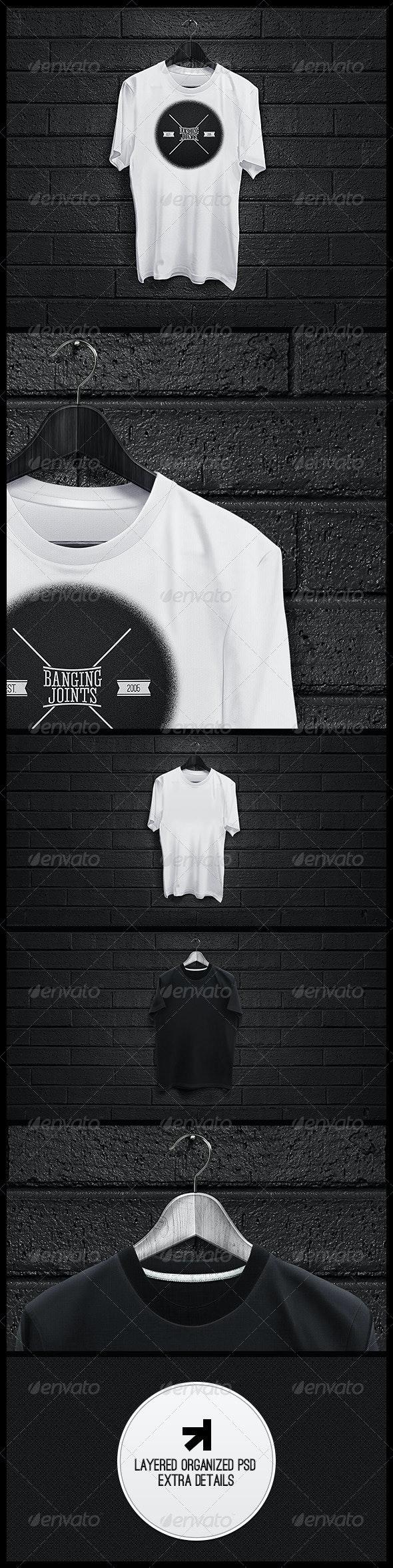 Black White T-Shirt Mockup - T-shirts Apparel