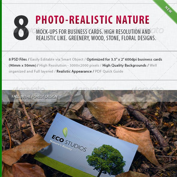 8 Photo-realistic Nature Business Card Mock-up