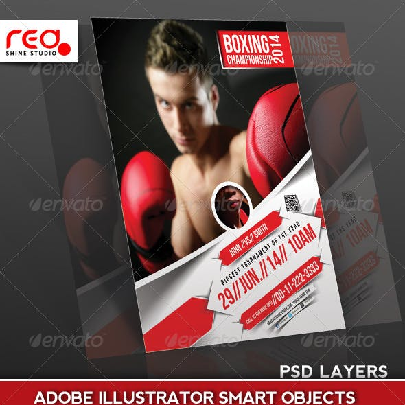 Boxing Championship Flyer Poster Magazine Template