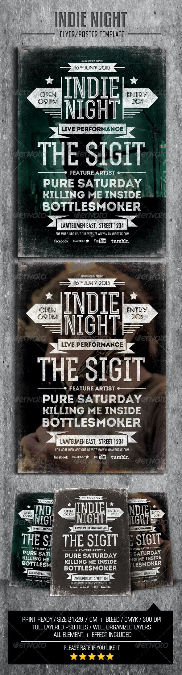 Indie Typography Flyer/Poster - Concerts Events