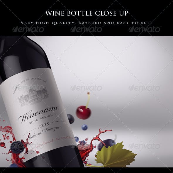 Wine Bottle Close-up Mock-up with Fruits