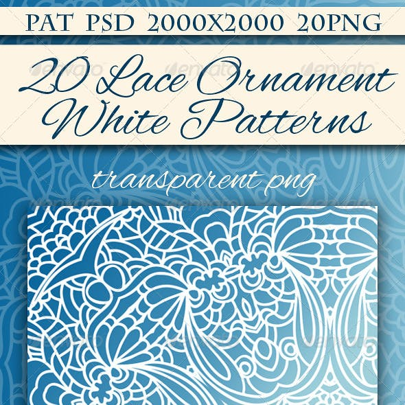 Set of 20 White Seamless Lace Ornaments.