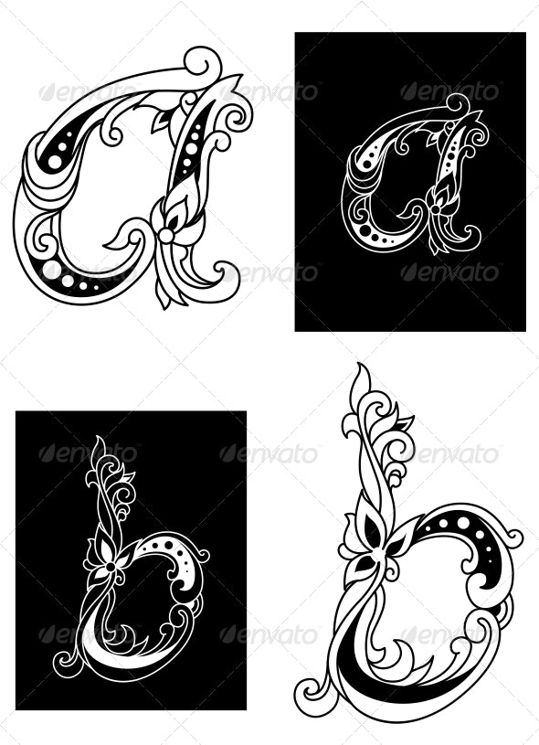 Two Floral Letters A and B - Flourishes / Swirls Decorative