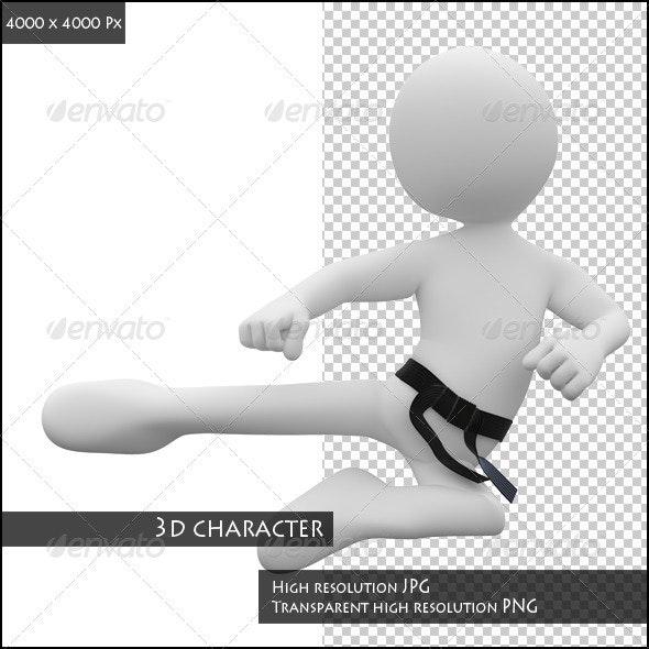 Karate Man in Combat Position III - Characters 3D Renders