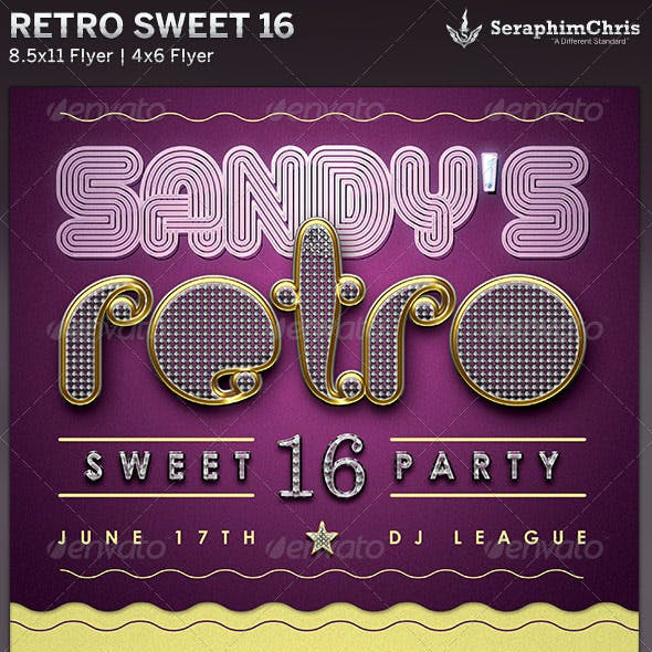 Retro Sweet 16: Party Flyer Template