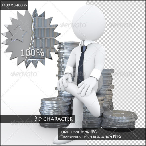 Businessman Sitting on a Pile of Coins - 3D Backgrounds