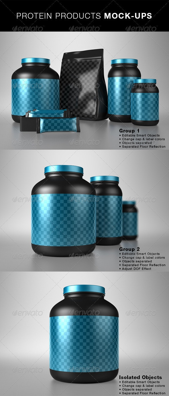 Protein Products Mock-Ups - Food and Drink Packaging