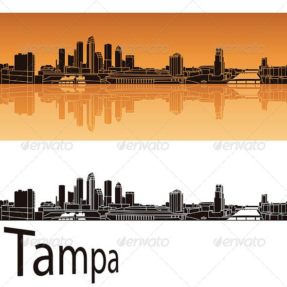 Tampa Skyline in Orange Background