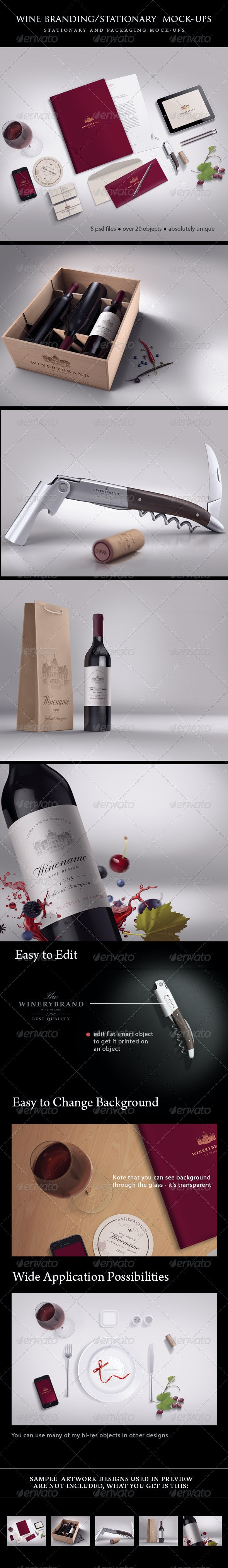 Wine Branding / Stationary Mock-ups Bundle - Stationery Print