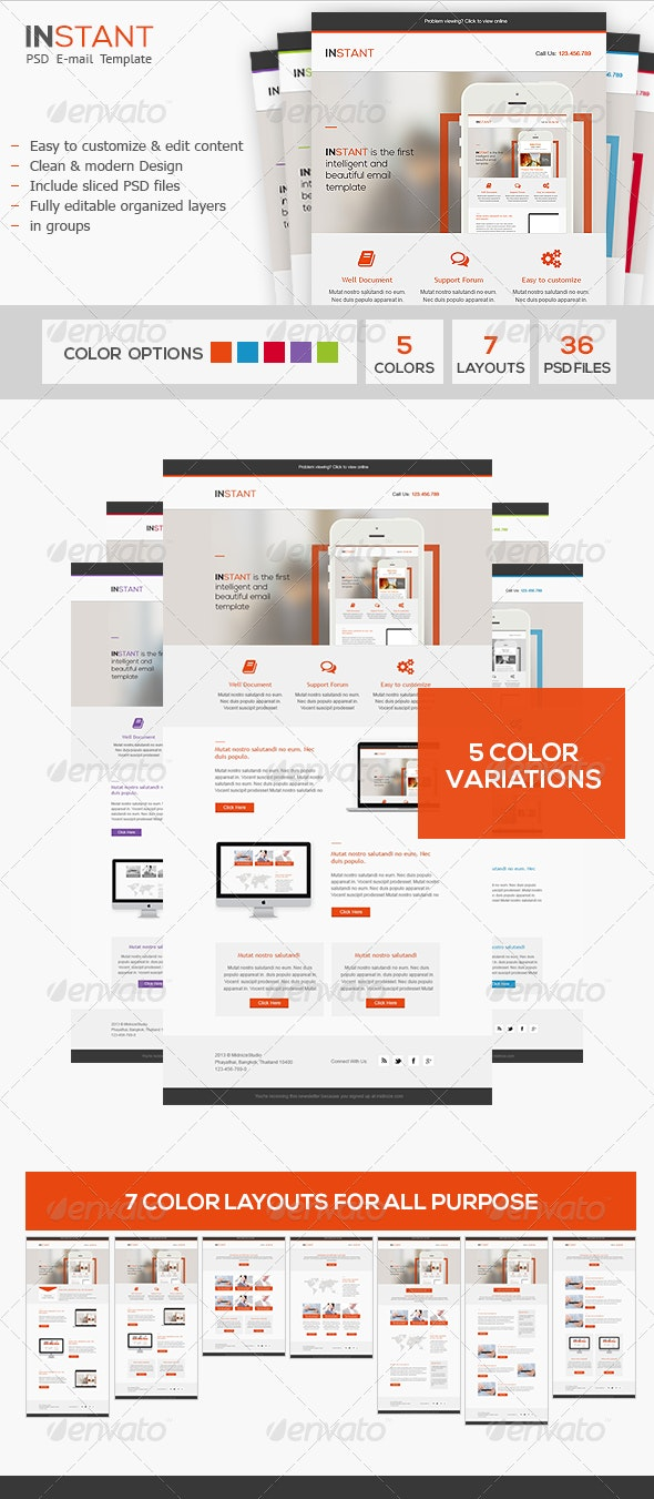 Instant - Business PSD Email Template - E-newsletters Web Elements