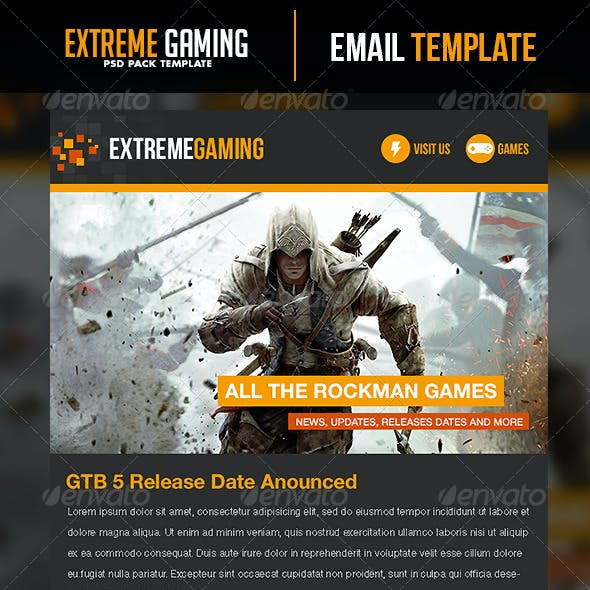Extreme Gaming PSD Email Template